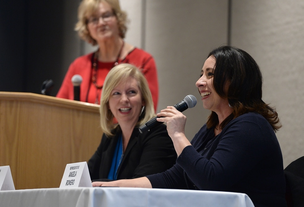 (Scott Sommerdorf | The Salt Lake Tribune) Rep. Angela Romero - D, Salt Lake, speaks at the panel discussion: Tales from the Trail at the Real Women Run training in campaign management, fundraising and research for political campaigns, Saturday, January 13, 2018.