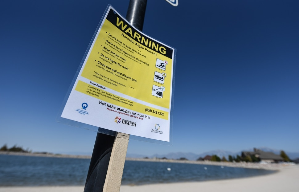 (Francisco Kjolseth | The Salt Lake Tribune) Warning signs have been posted at popular recreation sites including Black Ridge Reservoir in Herriman on Tuesday, Aug. 28, 2018, after an outbreak of algae-related toxin cyanobacteria was detected in the water.