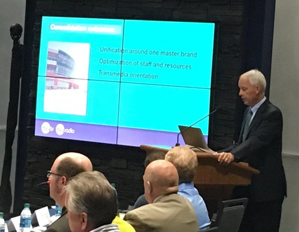 (Scott D. Pierce | The Salt Lake Tribune) BYU Broadcasting managing director, Michael Dunn explains the decision to make major changes at KBYU-FM and KBYU-Ch. 11.