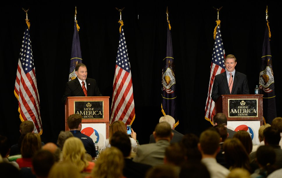 Francisco Kjolseth | The Salt Lake Tribune The first full Republican gubernatorial debate between Governor Gary Herbert, left, and Jonathan Johnson takes place at the Little America Hotel in Salt Lake City on Monday, April 11, 2016.