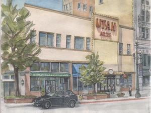 (Salt Lake City, via Modern Out West) Watercolor of Main Street exterior. Before demolition, the once-majestic Utah Theater on Salt Lake City's Main Street — a dilapidated and vacant 103-year-old performing arts hall once known as Pantages Theater —is being documented in a vast digital archive, hosted by J. Willard Marriott Library at the University of Utah.