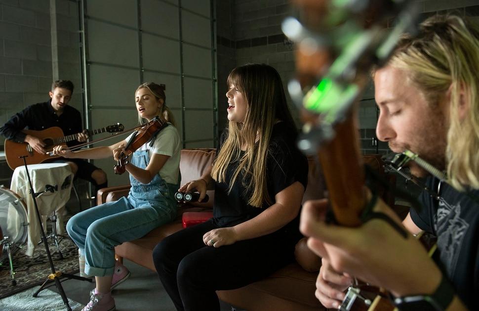 (Leah Hogsten | The Salt Lake Tribune) From left, The National Parks drummer Cam Brannelly, violinist Megan Parks, singer and keyboardist Sydney Macfarlane and lead singer and guitarist Brady Parks, June 2, 2020.