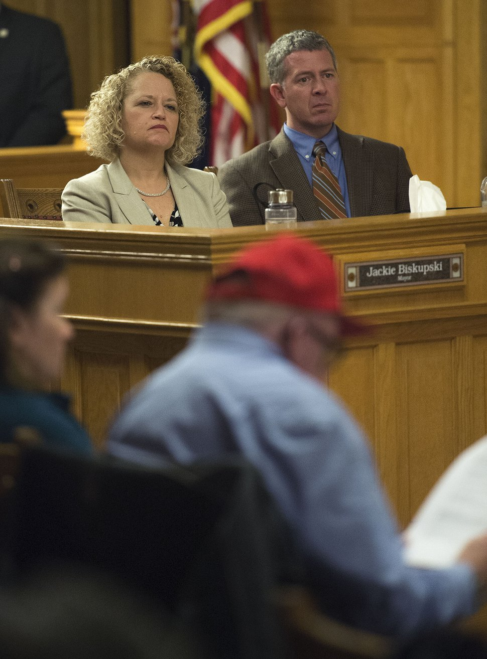 Steve Griffin / The Salt Lake Tribune Salt Lake City Mayor Jackie Biskupski sits with Patrick Leary, Salt Lake City Chief of Staff, during the Salt Lake City Council's first meeting of the year. as part of the meeting residents who live near four new proposed homeless shelters shared their feelings with the Council and the mayor at the City and County Building in Salt Lake City Tuesday January 3, 2017.