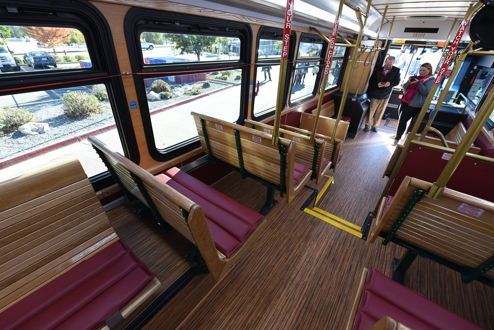 (Francisco Kjolseth | Tribune file photo) UTA will use trolley-style buses on a new Ogden line, such as this one unveiled in Layton for use there in 2018.