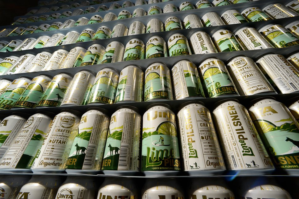 (Scott Sommerdorf | The Salt Lake Tribune) Empty cans of Uinta Brewing's Lime Pilsner are waiting to be filled in this archive photo from 2017.