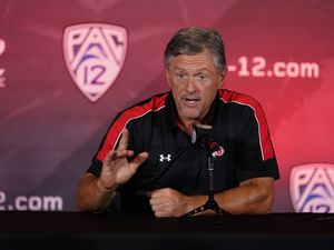 (Marcio Jose Sanchez | AP) Utah head coach Kyle Whittingham answers questions during the Pac-12 Conference NCAA college football Media Day Tuesday, July 27, 2021, in Los Angeles.