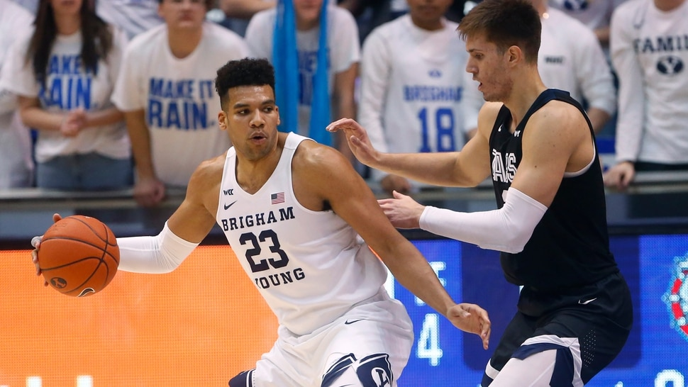 Gonzaga forward Filip Petrusev, right, guards BYU forward Yoeli Childs (23) during the first half of an NCAA college basketball game Saturday, Feb. 22, 2020, in Provo, Utah. (AP Photo/Rick Bowmer)