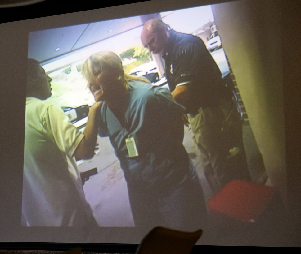 (Al Hartmann | The Salt Lake Tribune) Still photo taken from previously undisclosed video of a Salt Lake City police officer assaulting and arresting University of Utah Hospital on-duty nurse Alex Wubbels for following her hospital's policy on blood draws from an unconscious victim.