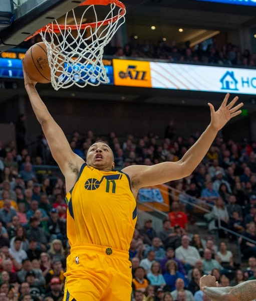 (Rick Egan | The Salt Lake Tribune) Utah Jazz guard Dante Exum (11) goes in for a slam dunk after stealing the ball, in NBA action between the Utah Jazz and the Minnesota Timberwolves in Salt Lake City, Monday, Nov. 18, 2019.