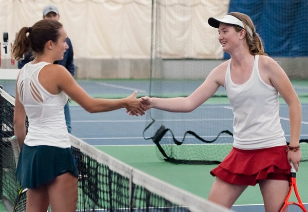 Michael Mangum | Special to the Tribune Waterford's Sophie Christensen, right, shakes the hand of Rowland Hall's Katie Foley after Foley won the 3A 1st singles state championship during the Utah high school state tennis finals at the Salt Lake Tennis & Health Club in Salt Lake City on Saturday, September 30, 2017.