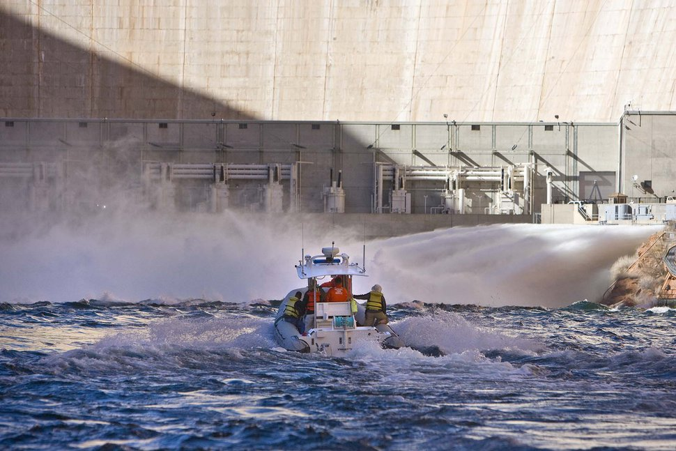 (Tribune file photo) The base of the Glen Canyon Dam, on the Colorado River. Utah officials hope to build the Lake Powell Pipeline to pump river water 139 miles north and west to southwestern Utah.