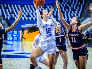 (Photo courtesy of Madeline Mortensen | BYU Athletics)  BYU forward Lauren Gustin put up her eighth double-double against Pepperdine on Feb. 4, scoring 27 points and bring down 20 rebounds.