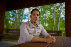(Trent Nelson  |  The Salt Lake Tribune) Connor Shanklin in Park City on Thursday, July 1, 2021. Shanklin has been working in his new job at the nonprofit National Ability Center for about six months, but he commutes from Salt Lake City because he hasn't been able to find housing he can afford in Park City.