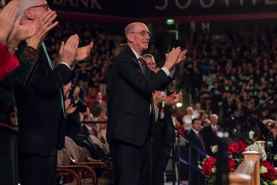"""(Courtesy of the LDS Church) """"You will never forget this night,"""" said President Henry B. Eyring. Speaking at the cultural celebration December 9, 2017, he said, """"Years from now you will bring your children back here. You will tell them how you felt as you participated in this great cultural celebration before the dedication of a beautiful temple of God."""""""