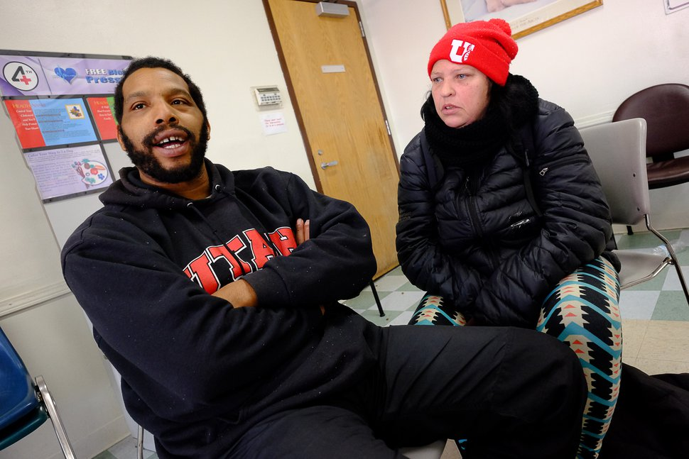 (Francisco Kjolseth   The Salt Lake Tribune) David Christopher Thomas and his wife Virginia spend time in the day room of the Weigand Center on Wednesday, Dec. 18, 2019, where Catholic Community Services hosts a weekly town hall meeting to get more input from its homeless clients.