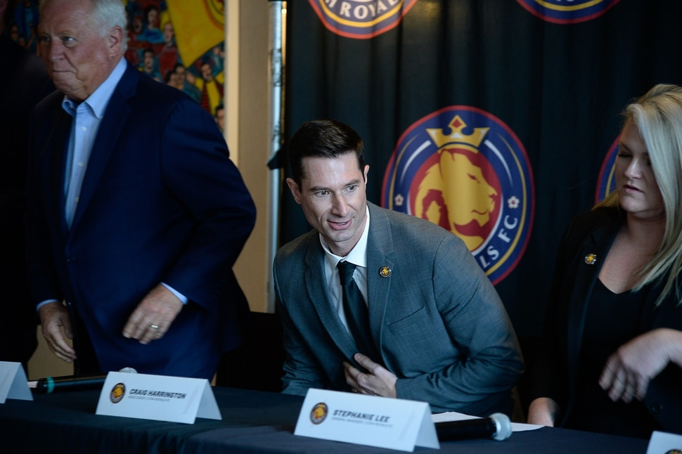 (Francisco Kjolseth | The Salt Lake Tribune) The Utah Royals FC announce former Chicago Red Stars assistant Craig Harrington, center, as its new head coach during a press event at Rio Tinto Stadium in Sandy, Utah on Friday, Feb. 7, 2020, as he joins team owner Dell Loy Hansen, left, and General Manager Stephanie Lee for the press conference.