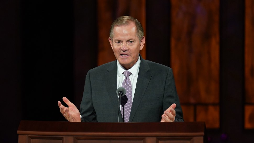(Photo courtesy of The Church of Jesus Christ of Latter-day Saints) Apostle Gary E. Stevenson speaks at Sunday afternoon General Conference session Oct. 4, 2020.