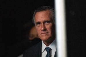 (Francisco Kjolseth | The Salt Lake Tribune) Sen. Mitt Romney gets ready to take the stage during the Utah Republican Party's 2021 Organizing Convention at the Maverik Center in West Valley City on Saturday, May 1, 2021, where he was booed by Republican delegates numbering more than 1,900.