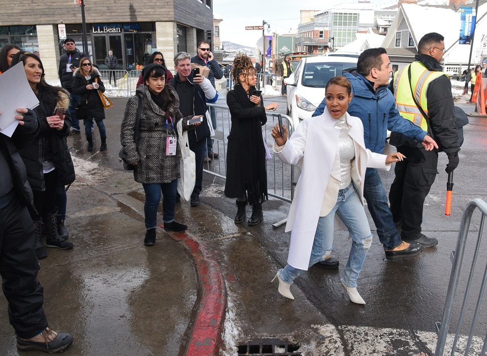 (Francisco Kjolseth | The Salt Lake Tribune) Jada Pinkett Smith draws attention as the Sundance Film Festival kicks into high gear along Main street in Park City on Friday, Jan. 25, 2019, with fans hoping to snap a selfie with a celebrity, autograph seekers, paparazzi and locals.