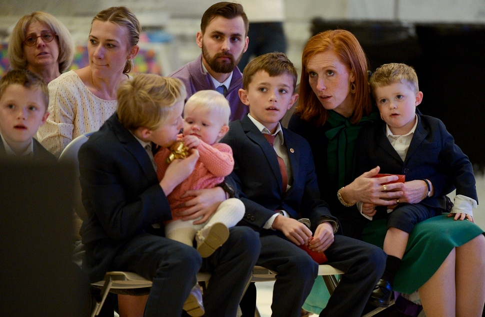 Leah Hogsten   The Salt Lake Tribune Jennie Taylor and her seven children participate in Chabad Lubavitch of Utah's 12th annual Hanukkah celebration at the Utah Capitol, Dec. 2, 2018. This year's event was also dedicated as 'A Salute to a Hero', in tribute to the late Maj. Brent Taylor of North Ogden, as the Menorah was kindled by his wife, Jennie Taylor.