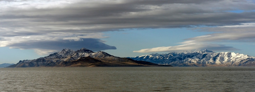 Al Hartmann   The Salt Lake Tribune Northern end of Stansbury Island with the snowpacked Stansbury Mountain range behind as seen from the Great Salt Lake Wednesday March 9 2017.
