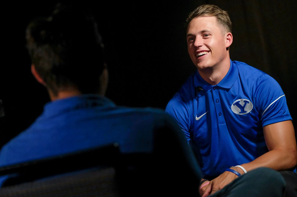 (Francisco Kjolseth   The Salt Lake Tribune) Linebacker Zayne Anderson sits for an interview during BYU football media day at the BYU Broadcasting Building in Provo on Tuesday, June 18, 2019.