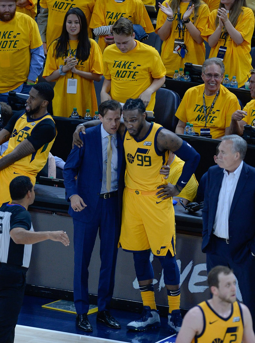 (Francisco Kjolseth | The Salt Lake Tribune) Utah Jazz coach Quin Snyder speaks with Utah Jazz forward Jae Crowder (99) during the final minutes of their game against the Houston Rockets in Game 4 of the NBA playoffs at the Vivint Smart Home Arena Sunday, May 6, 2018 in Salt Lake City. Houston took a 3-1 series lead over the Jazz with a final score of 100 to 87.