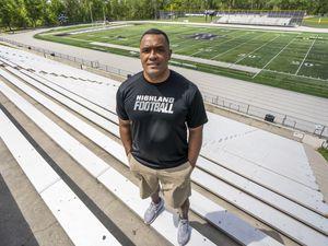 (Rick Egan | The Salt Lake Tribune)  Kautai Olevao is one of the new Highland High football coaches, on the Highland football field, Wednesday, May 19, 2021.