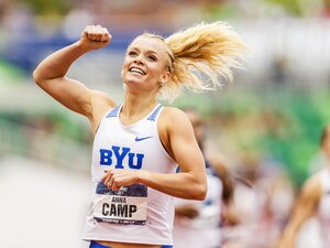 BYU Athletics Photo | Underdog Anna Camp-Bennett won the 1500m meter race at the NCAA Outdoor Track and Field Championships at Eugene, Ore., on June 12, 2021.