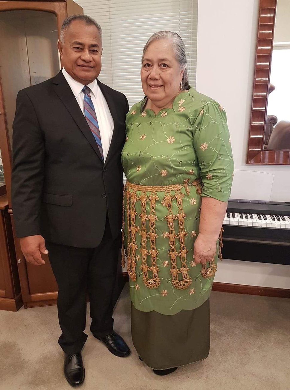 (Photo courtesy of The Church of Jesus Christ of Latter-day Saints) Taniela A. Langi and his wife, 'Anaseini V. Langi. Taniela, president of the Nuku'alofa Tonga Temple, died Sept. 5.