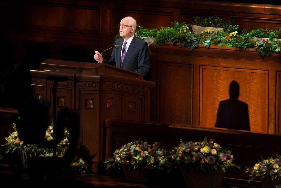 (Jeremy Harmon | The Salt Lake Tribune) Elder Larry Y. Wilson of the Seventy speaks during the Sunday morning session of General Conference on April 1, 2018.