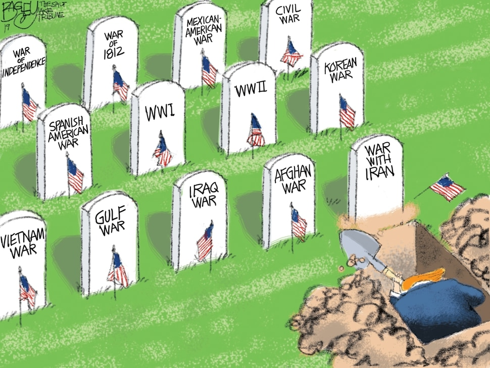 "(Pat Bagley | The Salt Lake Tribune) This cartoon, titled ""Memorial Day 2019,"" appears in the Salt Lake Tribune on Sunday, May 26, 2019."