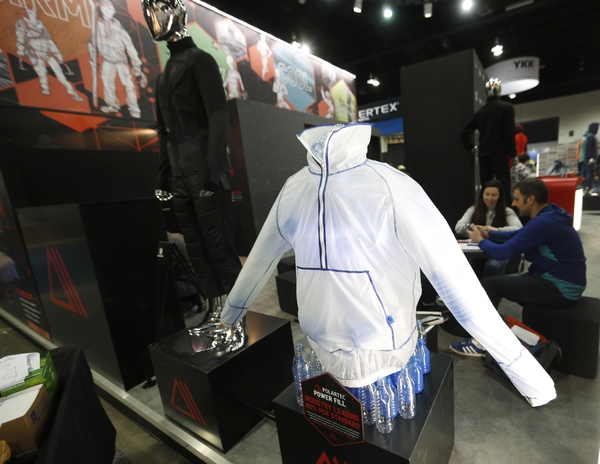 A Polartec Power Fill jacket is on display at the company's booth at the opening of the Outdoor Retailers and Snow Show in the Colorado Convention Center Thursday, Jan. 25, 2018, in Denver. Three floors of all the latest products for outdoor use makes the event the largest U.S. trade show for the outdoor and winter sports industries that represent $887 billion in sales. (AP Photo/David Zalubowski)