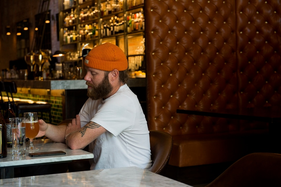 (Leah Hogsten | The Salt Lake Tribune) White Horse Spirits and Kitchen customer Drew Tayler has lunch with a friend, Thursday, Oct. 4, 2017.