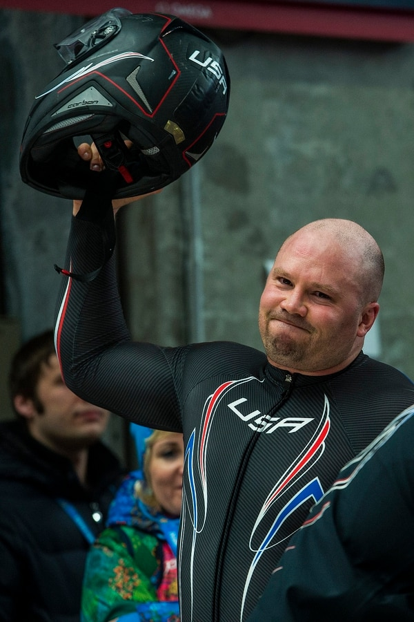 KRASNAYA POLYANA, RUSSIA - JANUARY 17: Pilot Steven Holcomb celebrates after competing in the men's two-man bobsled at Sanki Sliding Center during the 2014 Sochi Olympics Monday February 17, 2014. USA-1 with Steven Holcomb, of Park City, Utah, and Steve Langton, of Melrose, Mass., won the bronze medal with a time of 3:46.27. (Photo by Chris Detrick/The Salt Lake Tribune)
