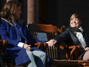 (Francisco Kjolseth     The Salt Lake Tribune) Erin Mendenhall chats with Salt Lake City Council member Amy Fowler in this file photo. Most council members, including Fowler, support the mayor's mask mandate for K-12 schools in the city.