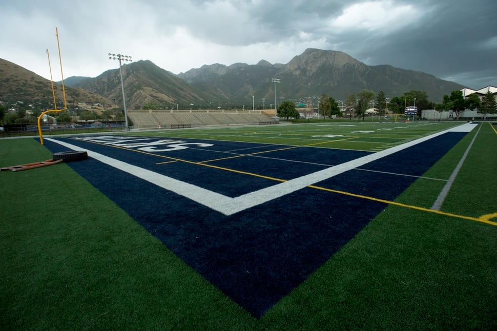 (Rick Egan | The Salt Lake Tribune) Skyline Football field Wednesday, August 8, 2017.