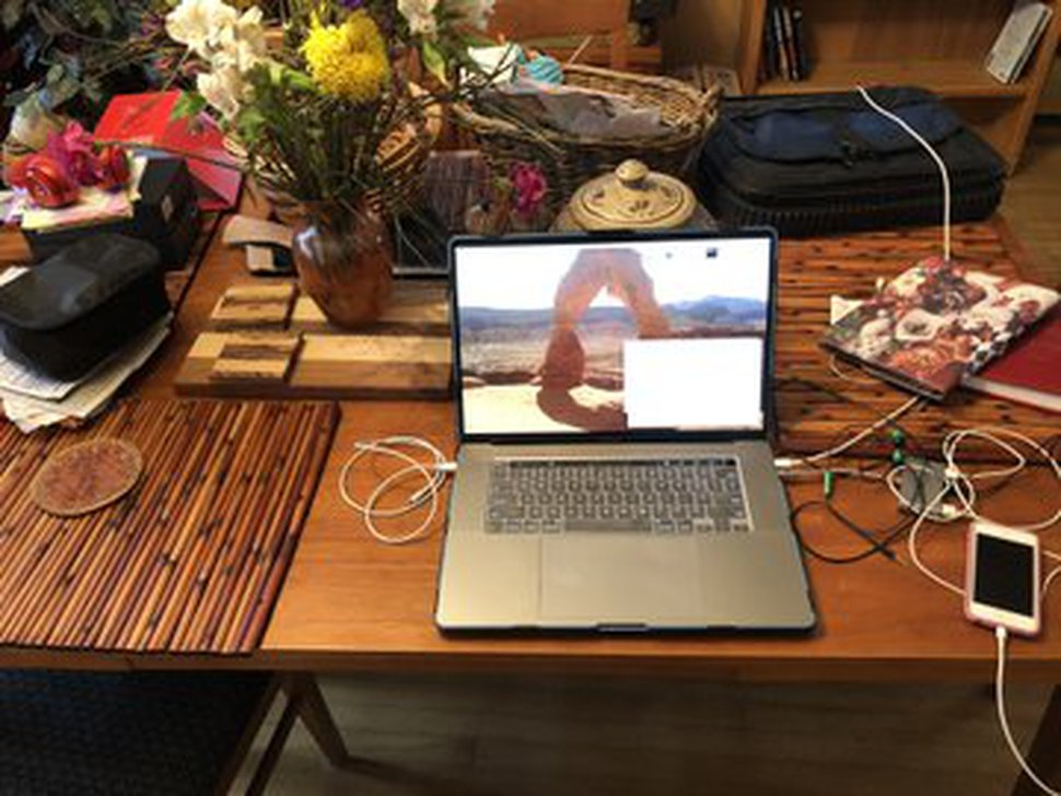 (Photo courtesy of Paul White) On his dining table in Salt Lake City, social psychologist Paul White teaches his courses at the University of Utah online, while following stay-home orders because of the coronavirus pandemic.