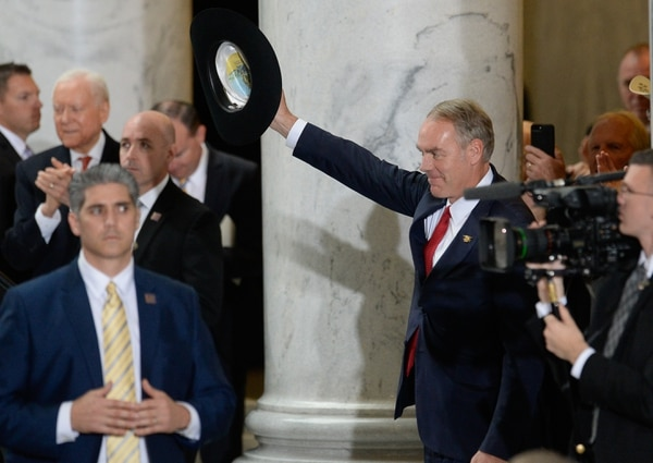 (Francisco Kjolseth | Tribune file photo) Interior Secretary Ryan Zinke is acknowledged by U.S. President Donald Trump on stage at the Utah Capitol on Monday, Dec. 4, 2017, moments before signing two presidential proclamation to shrink Bears Ears and Grand Staircase-Escalante national monuments.