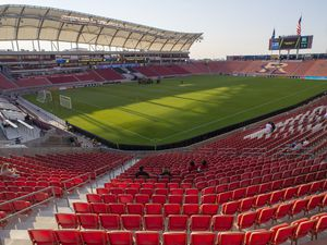 (Rick Egan     The Salt Lake Tribune)     THe stadium is empty minutes before the match was supposed to start as the game between Real Salt Lake and LAFC has was postponed after teams in sports leagues across the country boycotted scheduled games to protest the police shooting of Jacob Blake, RSL and LAFC followed suit, along with the rest of MLS, on Wednesday, Aug. 26, 2020.
