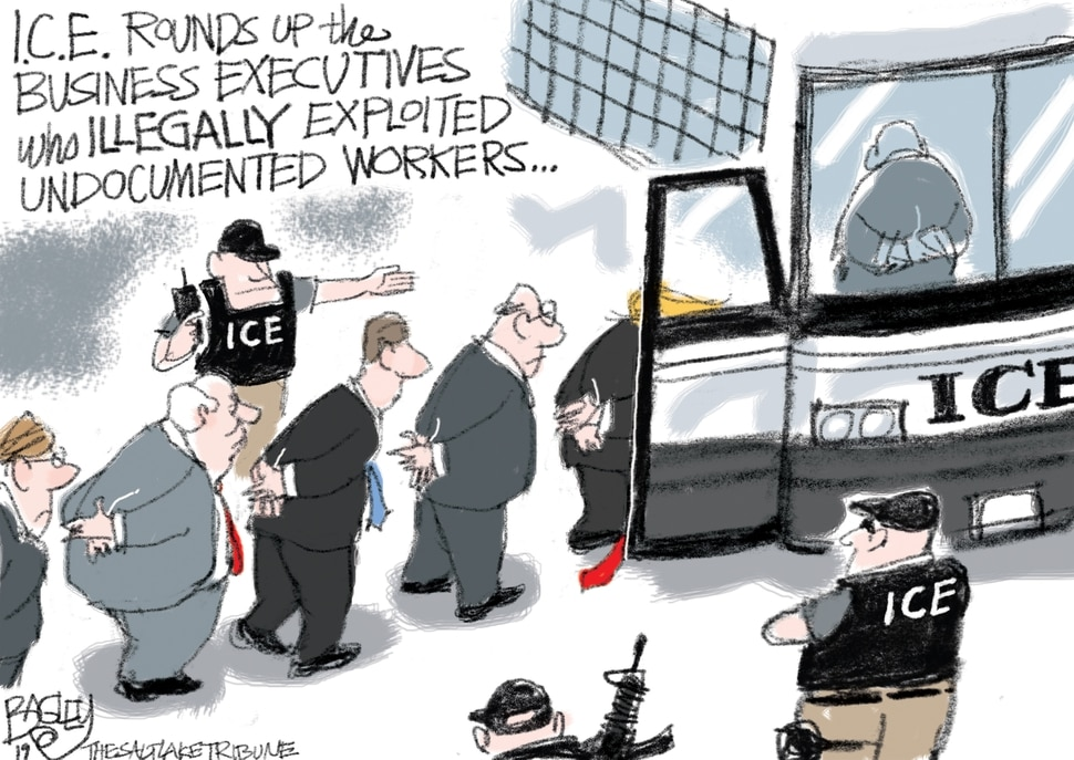 "(Pat Bagley | The Salt Lake Tribune) This cartoon, titled ""A Nation of Laws,"" appears in The Salt Lake Tribune on Friday, Aug. 9, 2019."