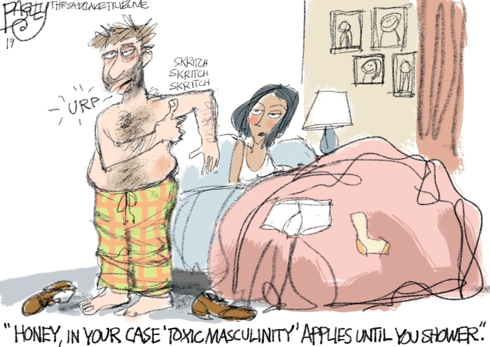 "This Pat Bagley cartoon, titled ""Toxic Masculinity,"" appears in The Salt Lake Tribune on Thursday, Jan. 17, 2019."