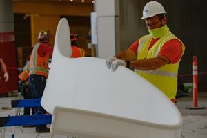 (Francisco Kjolseth  |  The Salt Lake Tribune) The area known as The Canyon begins to take shape with crews stretching fabric over metal fins to simulate southern Utah canyon walls during the first phase of construction of the Salt Lake City International Airport on Wednesday, May 20, 2020.