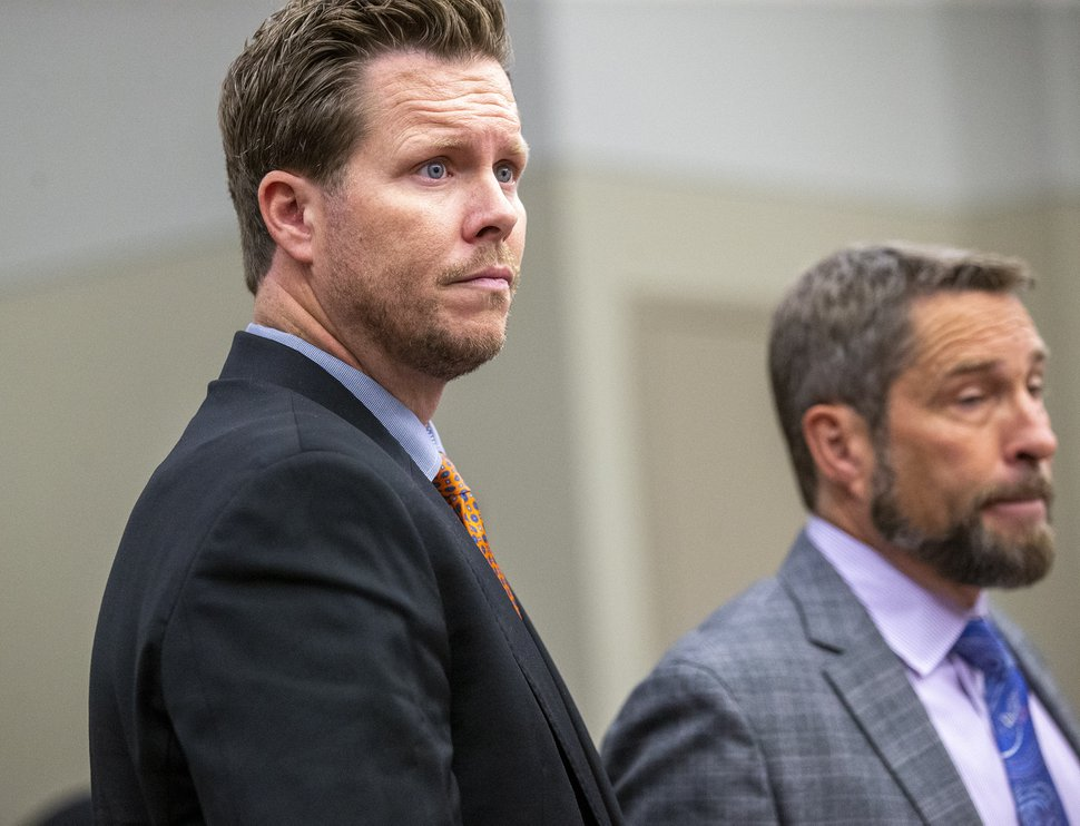 (Scott G. Winterton | Pool) Paul Petersen appears at court in the Matheson courthouse in Salt Lake City Utah with his attorney Scott Williams on Friday, Nov. 15, 2019. Petersen is facing multiple charges of human smuggling among other charges in other states.