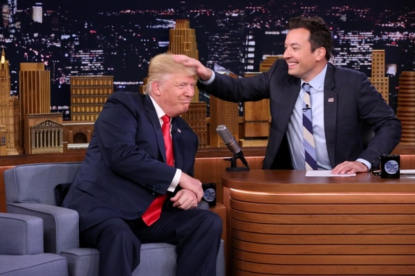 (Andrew Lipovsky | NBC via Associated Press) In this image released by NBC, Republican presidential candidate Donald Trump appears with host Jimmy Fallon during a taping of