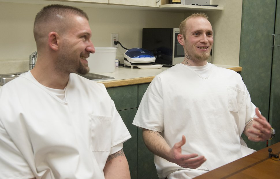 (Rick Egan | The Salt Lake Tribune) Bryce Talbot and James Bullock, state inmates in the Garfield County jail, talk about the programs have helped them succeed while incarcerated in Panguitch, Thursday, December 21, 2017.