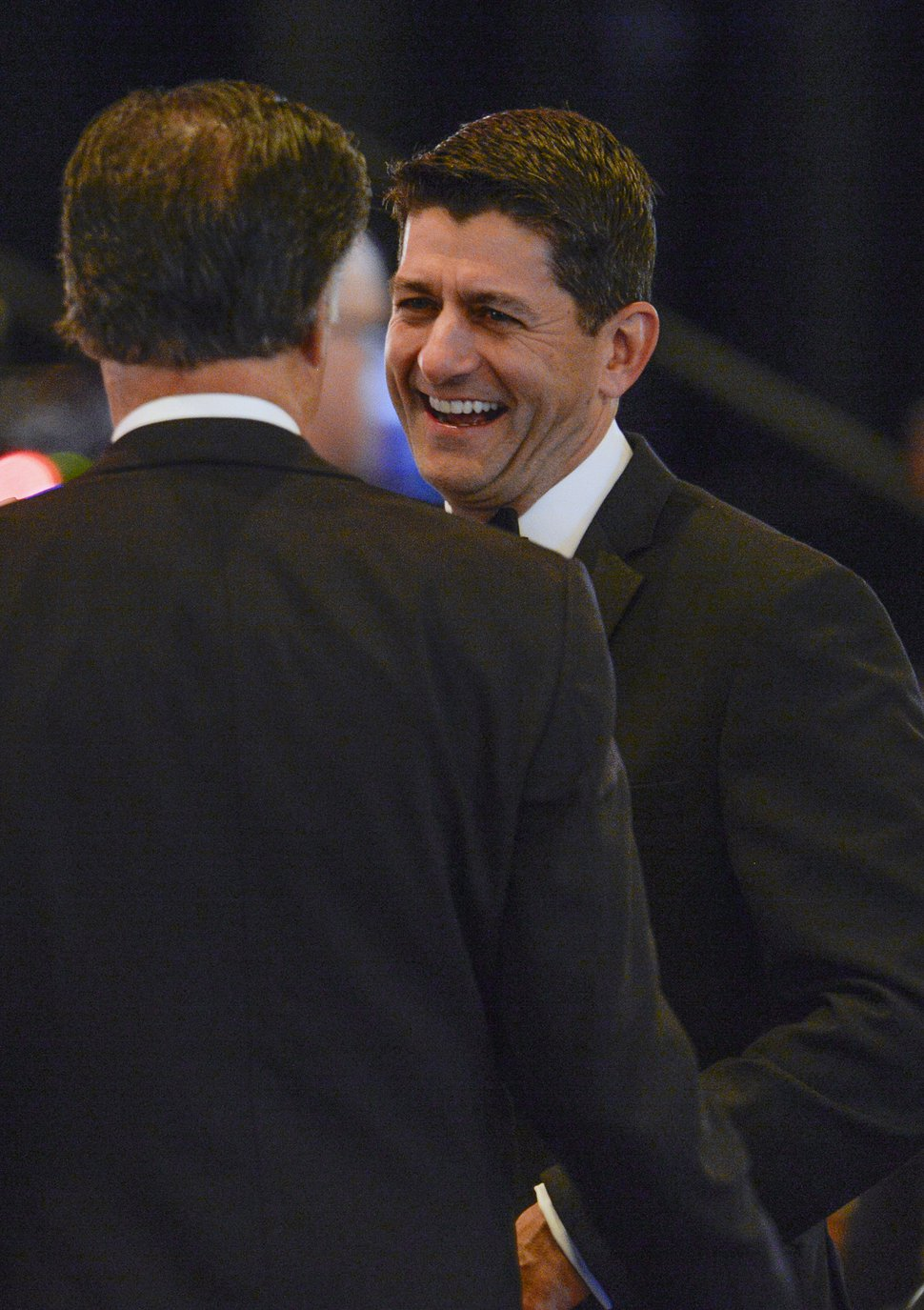 Leah Hogsten | The Salt Lake Tribune U.S. House Speaker Paul Ryan shares a laugh with Republican Senate candidate Mitt Romney during a ceremony honoring Sen. Orrin G. Hatch (R-Utah), Saturday, June 9, 2018, at the Grand America Hotel in Salt Lake City. The Salt Lake Chamber awarded Hatch with the 39th Giant in Our City for distinguished service and professional achievement throughout his political career.