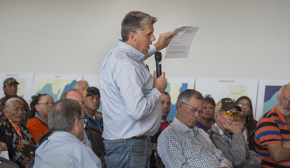 (Leah Hogsten | Tribune file photo) San Juan County Commissioner Phil Lyman opposed new redistricting lines during the a Nov. 16, 2017, meeting in Monticello. The proposals would redraw voting districts to ensure American Indian majorities in two of three County Commission districts and on four of five school board voting districts.