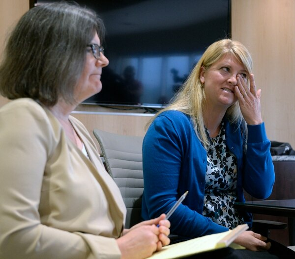 (Al Hartmann | The Salt Lake Tribune) Attorney Kara Porter, left, holds a press conference Thursday August 31 to show previously undisclosed footage of a Salt Lake City police officer assaulting and arresting University of Utah Hospital on-duty nurse Alex Wubbels for following her hospital's policy on blood draws from an unconscious victim. Wubbels was upset at watching her arrest on the video for following the law and procedures of the hospital.
