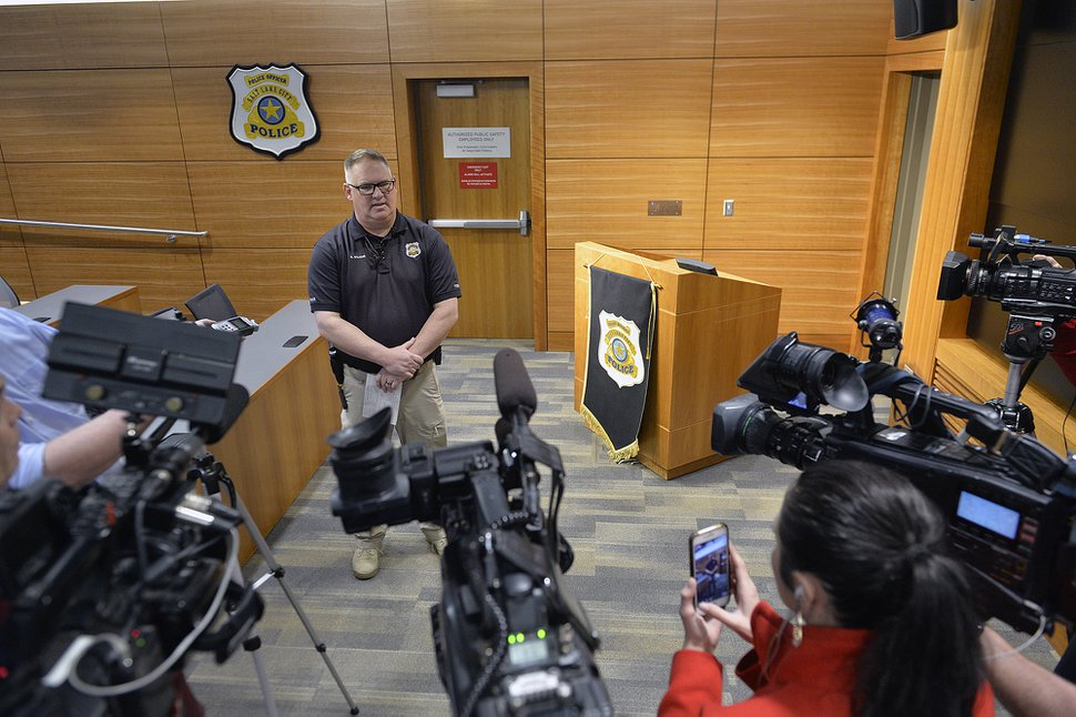 (Chris Samuels | The Salt Lake Tribune) Salt Lake City police Detective Greg Wilking holds a press conference after the arrest of Terrell Perriman at police headquarters, Jan. 30, 2020.